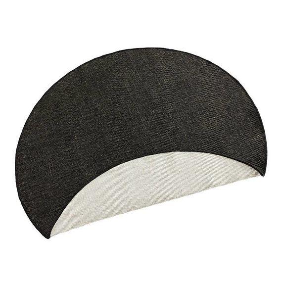 Bougari Rond vloerkleed Twin Solid - Zwart/Creme
