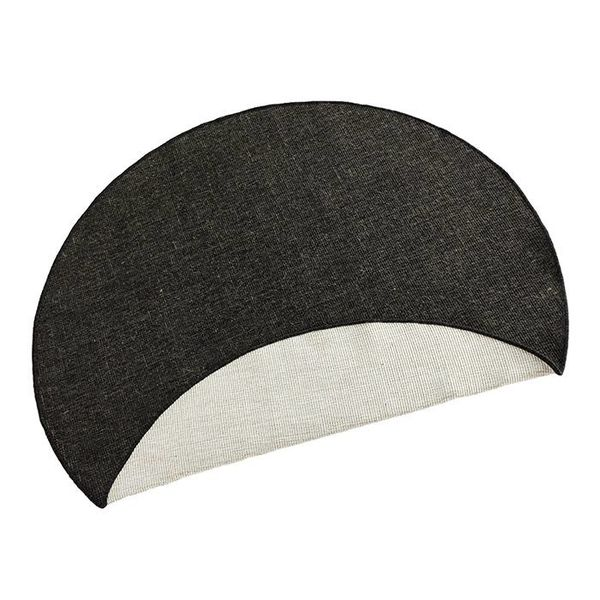 Rond Vloerkleed Twin Solid - Zwart/Creme