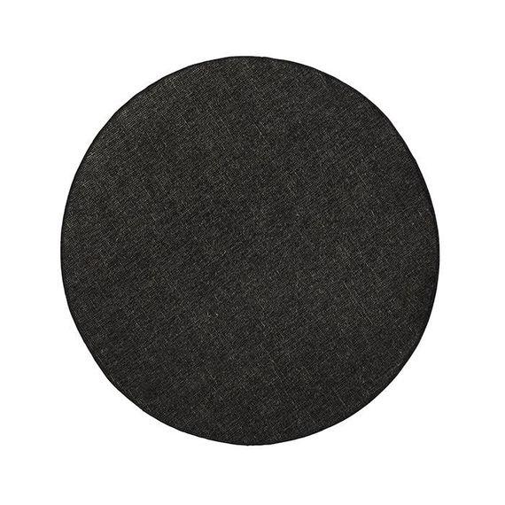 Bougari Rond Buitenkleed Twin Solid - Zwart/Creme