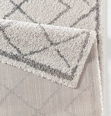 Hoogpolig vloerkleed Hamar - Diamond creme/grijs