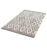 Hoogpolig vloerkleed Hamar - Cubes creme/grijs