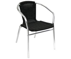 Zwarte Rieten Stoel : Bolero rotan stoel zwart set van horeca deluxe
