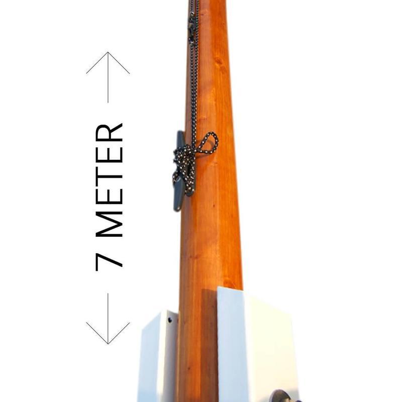 Houten vlaggenmast, 7 meter