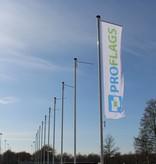 Professionele vlaggenmast met hijsbare banierhouder, 9 meter