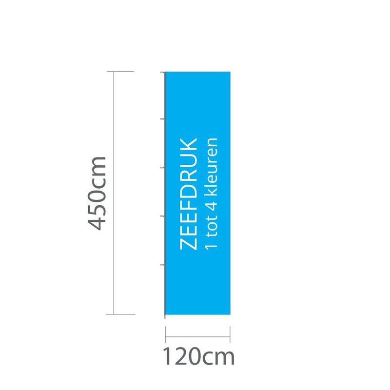 Mastvlag hoogformaat, zeefdruk, 120x450cm