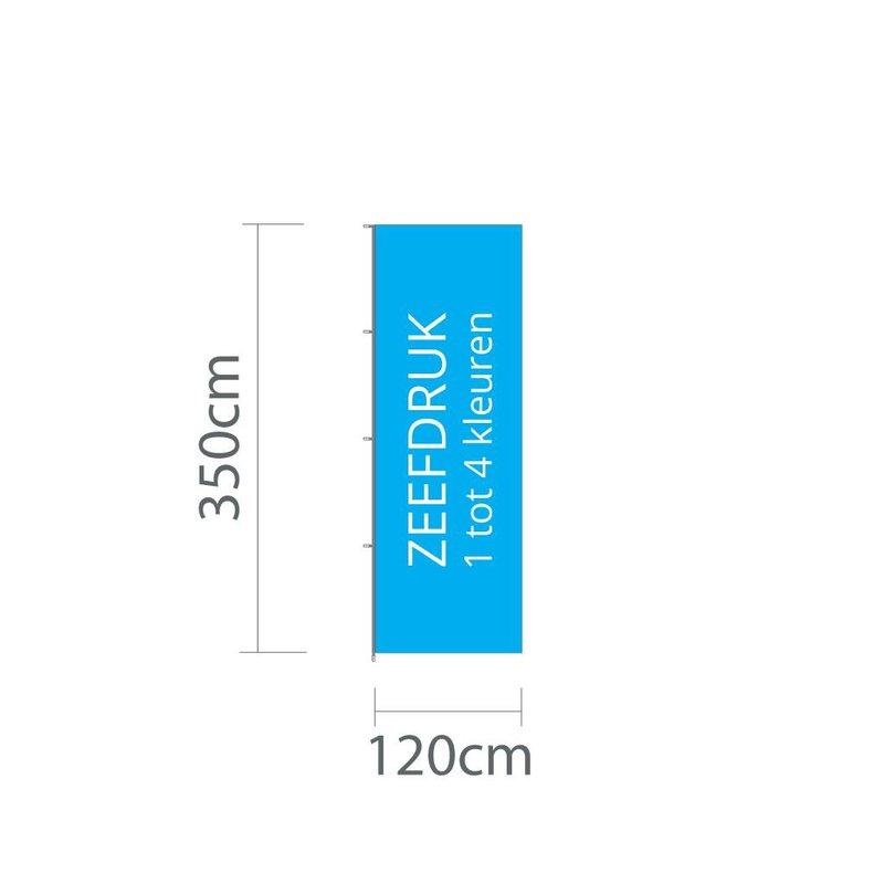 Mastvlag hoogformaat, zeefdruk, 120x350cm