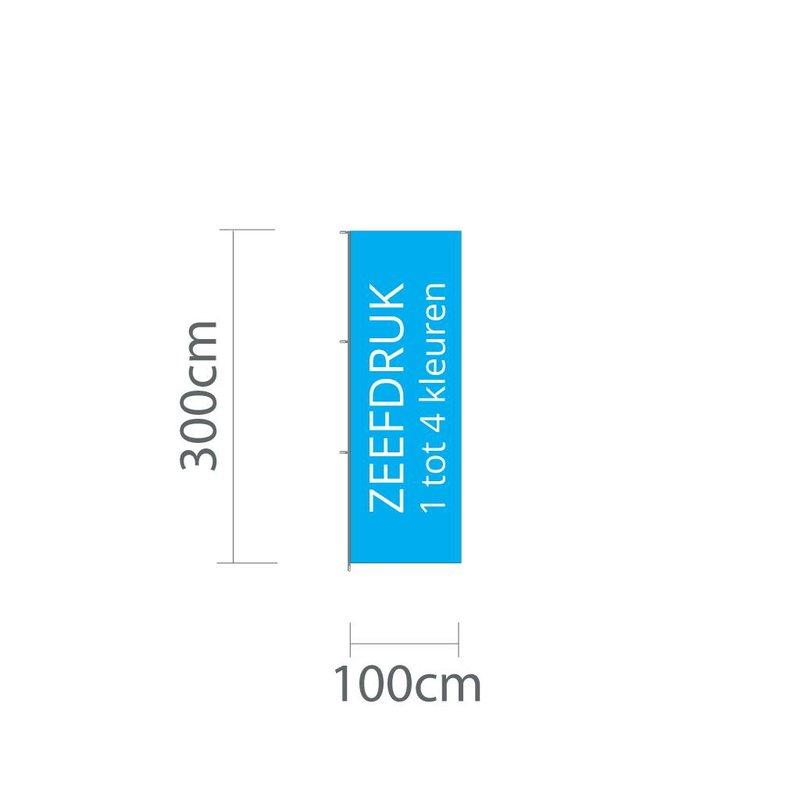 Mastvlag hoogformaat, zeefdruk, 100x300cm