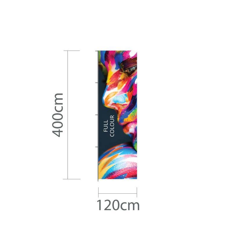 Hoogformaat mastvlag 120x400cm