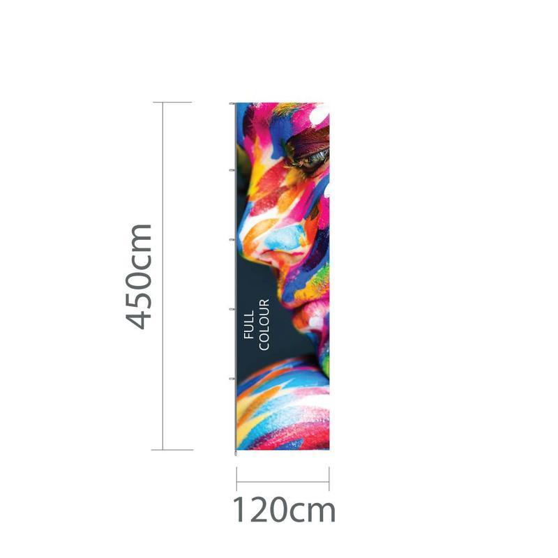 Hoogformaat mastvlag 120x450cm