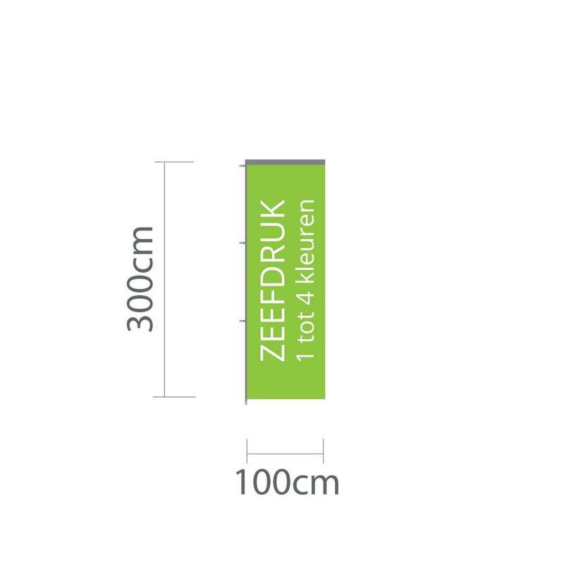 Baniervlag zeefdruk, 100x300cm