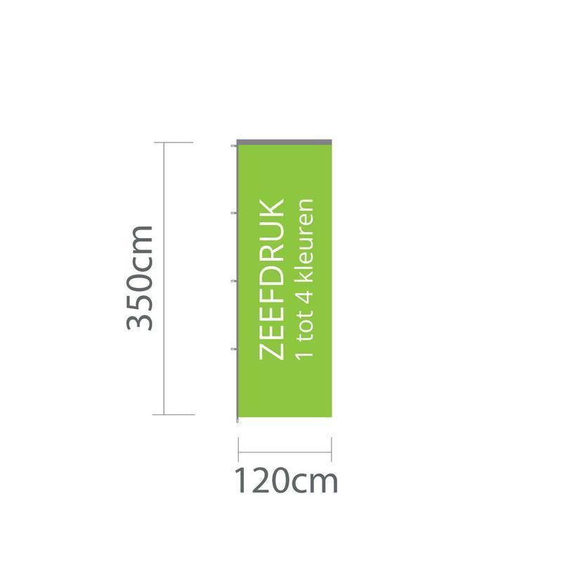 Baniervlag zeefdruk, 120x350cm