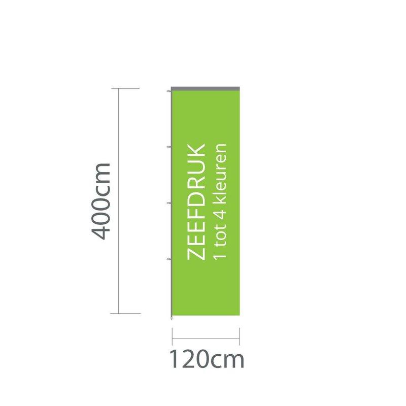 Baniervlag zeefdruk, 120x400cm