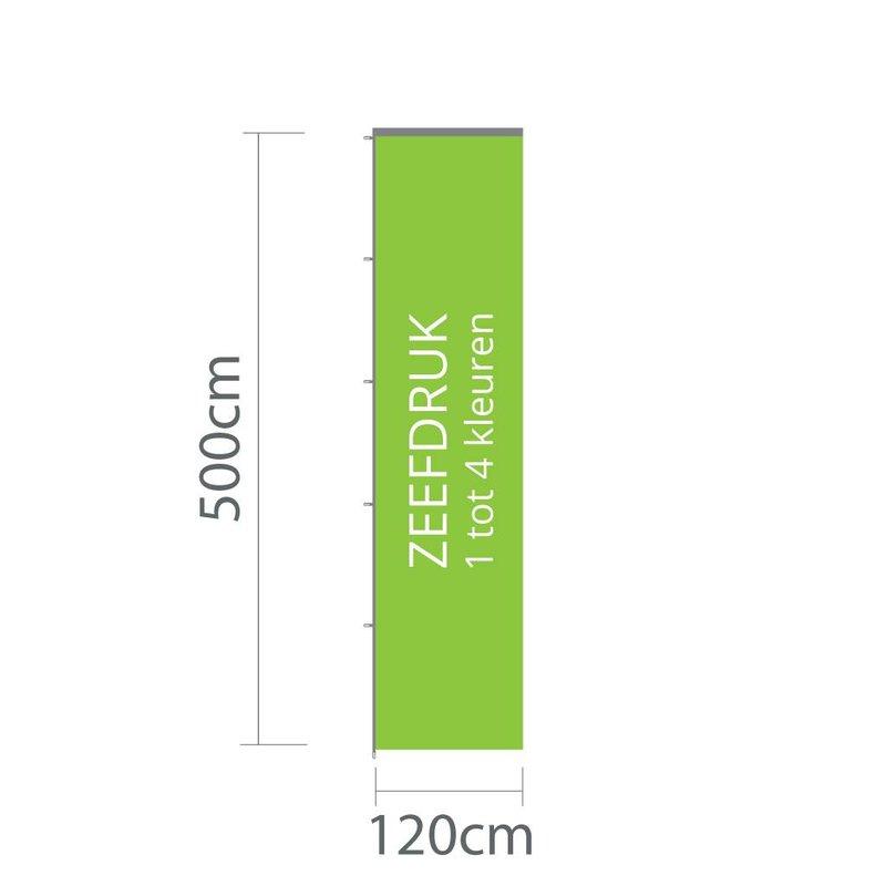 Baniervlag zeefdruk, 120x500cm