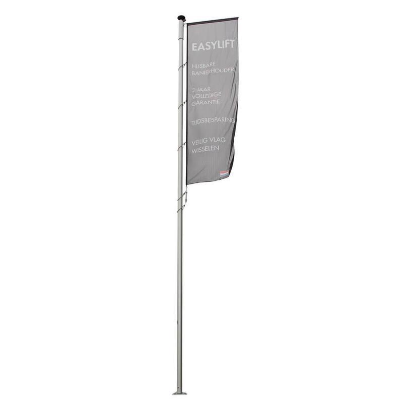 Aluminium mast met hijsbare banierhouder met lier 9 meter