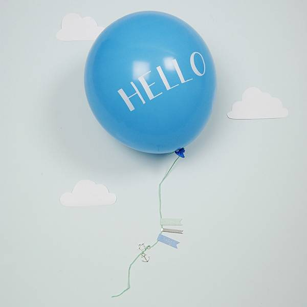 Meri Meri HELLO BLUE BALLOON CARD