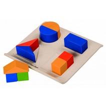 Houten geometrische vormen sorteren