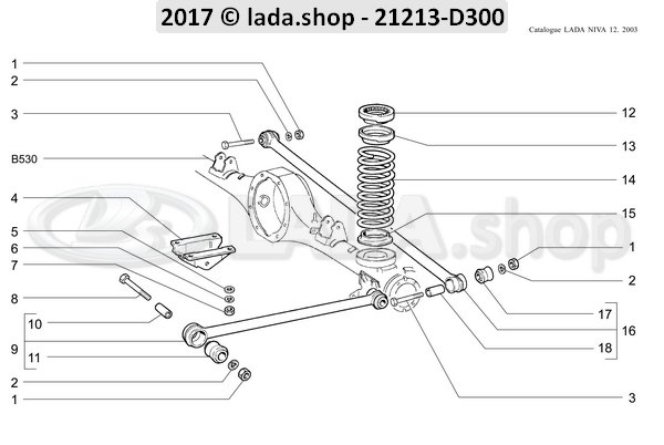 LADA 21213-2910000-86, Set of rear suspension rods