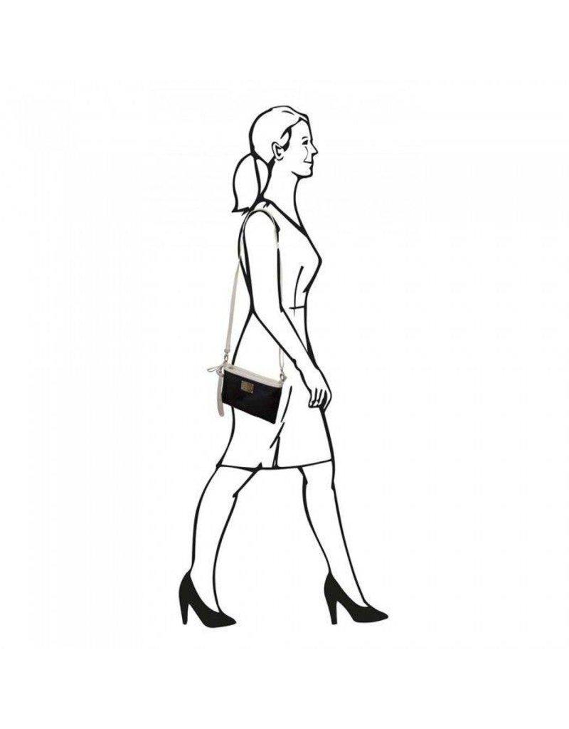 Laimbock Leren clutch dames met een geperforeerde afwerking, model Trevi.