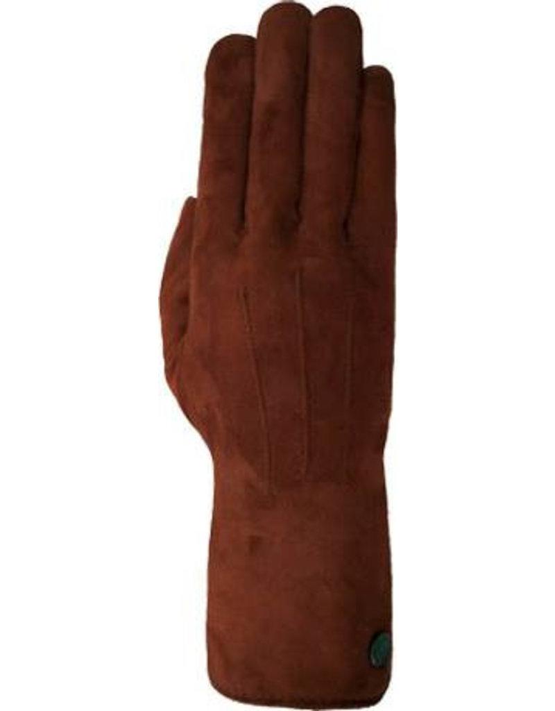 Laimbock Suède dameshandschoen met drie opnaden.