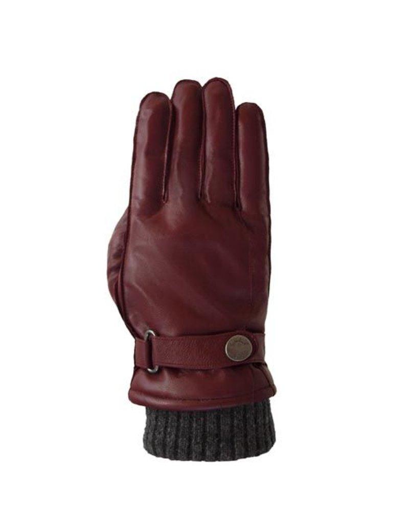 Laimbock Leren heren handschoen met gebreide boord.