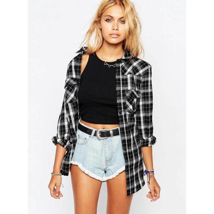 Geruite blouse zwart-3
