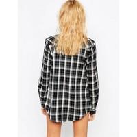 thumb-Geruite blouse zwart-5