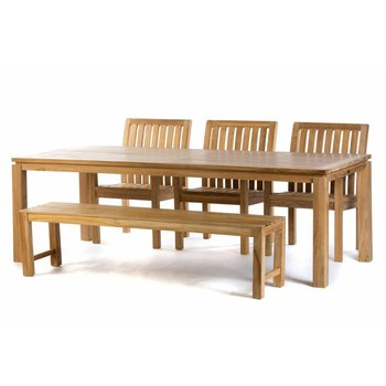 Garden Teak Teak tuinset: Albany Tafel (240cm) | Comfort  stoelen | Sita tuinbank 180 cm