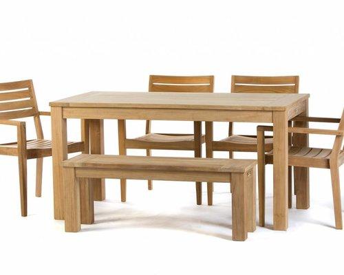 Dining Stoelen Tuin : Teak tuinset: james tafel 160cm st.tropez stoel james tuinbank