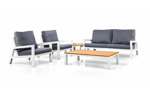 SUNS tuinmeubelen Lago loungeset | Mat royal grijs | Loungebank + 2 stoelen