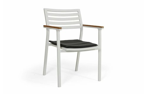 Brafab Olivet stapelstoel | Wit/grijs | Teak & Aluminium