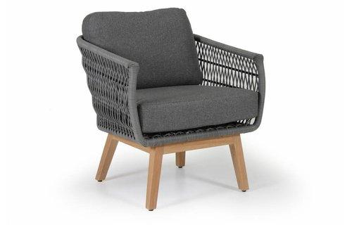 Brafab Kenton loungestoel | Teak&Wicker | Grey