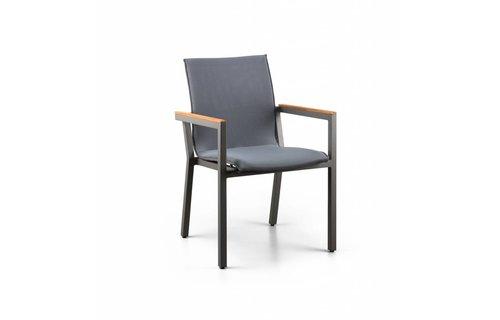 SUNS tuinmeubelen Felice stapelstoel | Mat royal grijs | Alu/teak