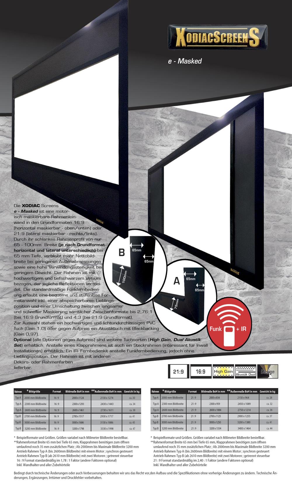 xodiac e masked rahmenleinwand motorisch maskierbar. Black Bedroom Furniture Sets. Home Design Ideas