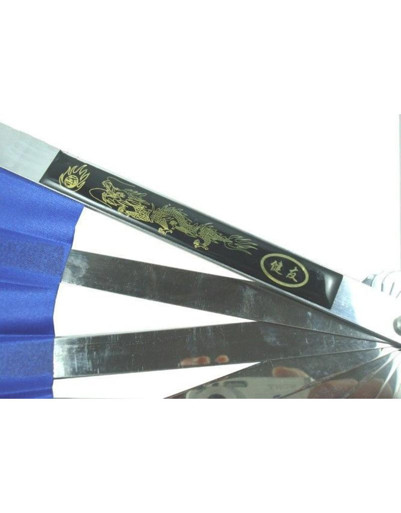 Enso Martial Arts Blue Metal Tai Chi Fan