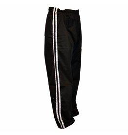 Black Kickboxing Trousers Cotton White Stripes