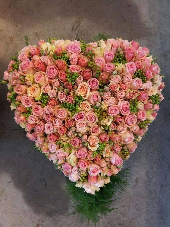 gemengde rose rozen hart