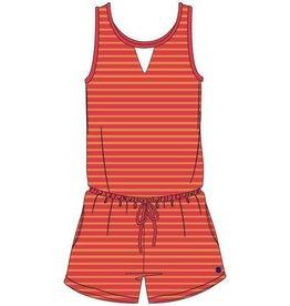 Woody Meisjes-Dames onesie, rood-oranje gestreept