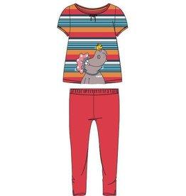 Woody Meisjes-Dames pyjama, rood-oranje gestreept