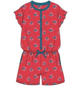 Woody Meisjes-Dames onesie, rood nijlpaard all-over print