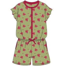 Woody Meisjes-Dames onesie, groen papegaai all-over print