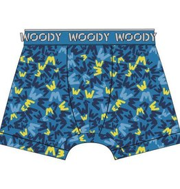 Woody Jongens short, blauw logo all-over print