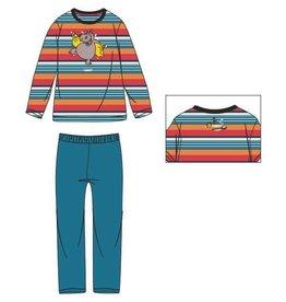 Woody Unisex pyjama, rood-oranje gestreept