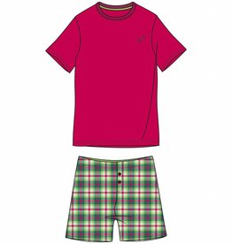 Woody Jongens-Heren pyjama, kersenrood