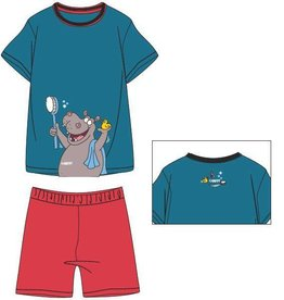Woody Unisex pyjama, petrol blauw