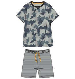 Woody Jongens-Heren pyjama, kaki camouflage all-over print