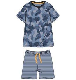 Woody Jongens-Heren pyjama, blauw camouflage all-over print