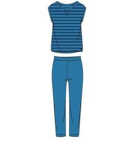 Woody Meisjes-Dames t-shirt en broek, blauw gestreept