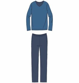 Woody Heren pyjama, blauw-wit all-over print
