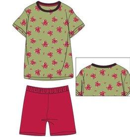 Woody Unisex pyjama, groen papegaai all-over print