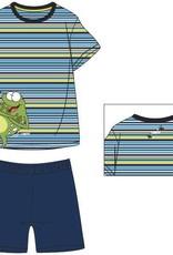 Woody Unisex pyjama, blauw-geel gestreept